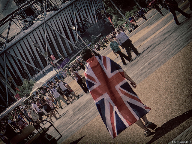 Team GB fan walks through the Olympic park