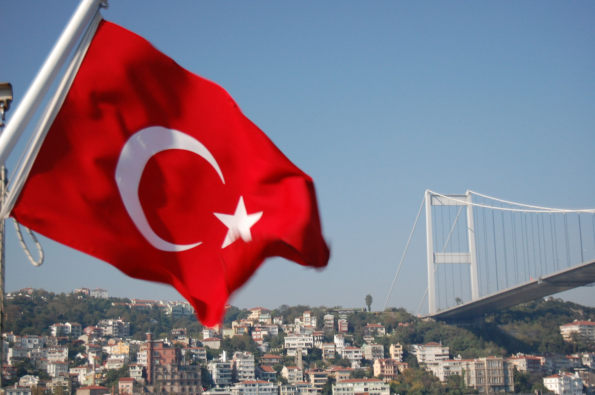 Turkish flag flying by the Bosphorous Bridge