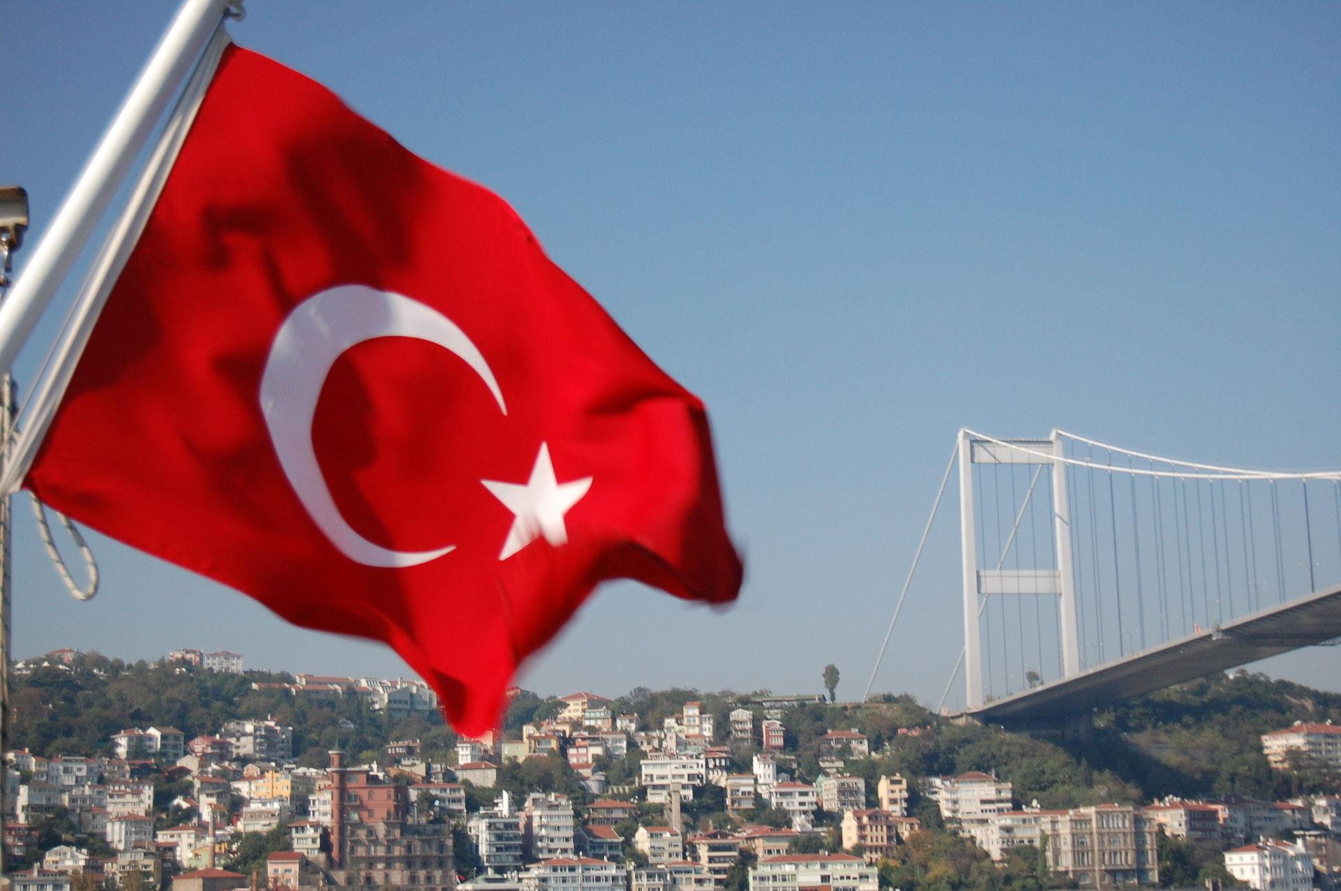 Turkish flag flying by the Bosphorous Bridge