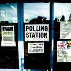 The front doors of a polling station in the UK