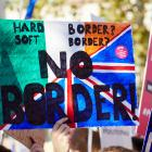 Placard from protest which reads 'Hard Brexit, Soft Brexit, NO BORDER'