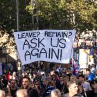 Large group of people protesting with a sign that reads 'Leave? Remain? Ask us again'